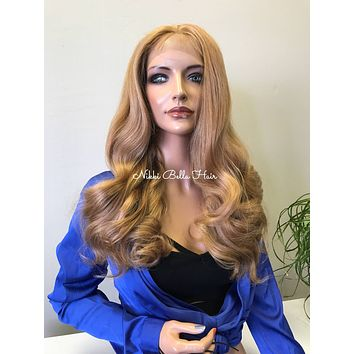 Blonde Loose Curl Hair Multi Parting SWISS Lace Front Wig - Marsha cb005-12