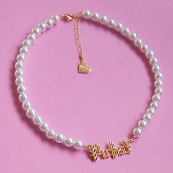 PU$S¥ Pearl Nameplate Necklace