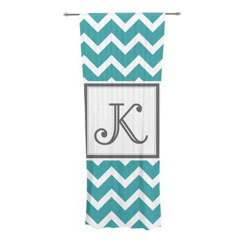 "KESS Original ""Monogram Chevron Teal"" Decorative Sheer Curtain"