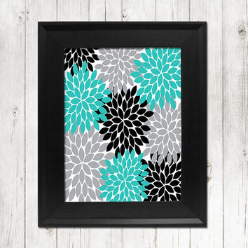 Turquoise Gray Black Flower Wall Art Bedroom Wall Art Bathroom Wall Art Bedroom Picture Flower Wall Art Flower Burst Dahlia Art 1 Print