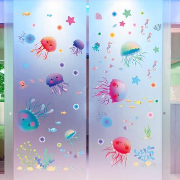 Lovely Jellyfish Style Wall Stickers On The Wall children Kids Rooms Bathroom DIY Home Decor PVC Vinyl Decals Decoration Etc.