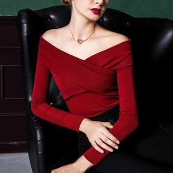 Fashion Spring And Autumn Sexy Slit Neckline Strapless Elegant Slim T-Shirt Black Wine Red Color Casual All-Match Basic Top