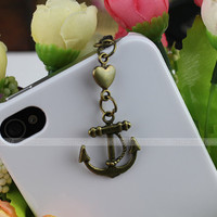 3.5 mm bronze anchor series dustproof plug for iphone 4 s, iphone 4, iphone 3 gs, iPod Touch 4, iphone 5 , samsung, electricity, Nokai SONY
