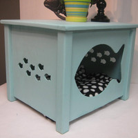 Cat House Combo Bed or Litter Box Cover Fish Design