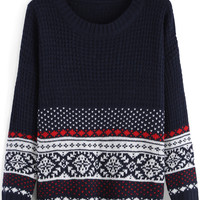 Navy Tribal Print Knit Long Sleeve Sweater