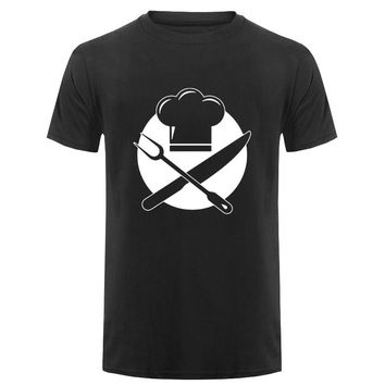 Chef Cap Knives and Forks T-Shirts - Men's Crew Neck Top Tees