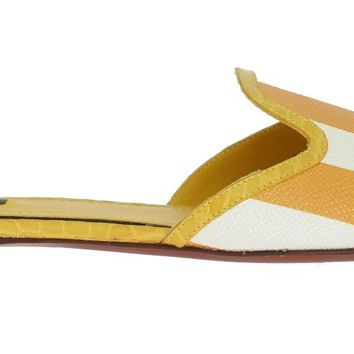 Yellow Crocodile Leather Flat Sandals