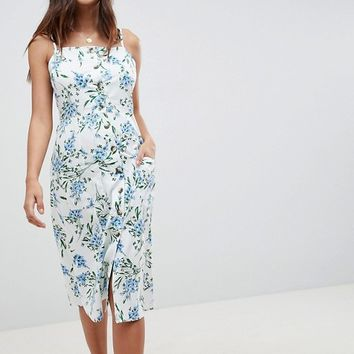 ASOS DESIGN Button Through Midi Sundress In Floral Print at asos.com