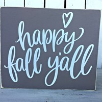 Happy Fall Yall Rustic Sign | Fall Farmhouse Decor | Shabby Chic Wall Decor