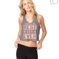 Live Love Dream  Womens LLD Best Day Ever Crop Tank Top