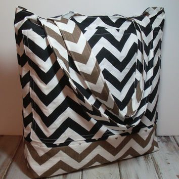 Fall Tote Bag, Brown and Black, Canvas Tote Bag, Brown Chevron Bag, Black Chevron Tote, Teachers Tote Bag, Beach Bag Tote, Brown Beach Tote
