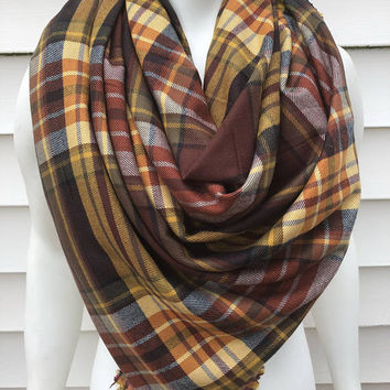 Thanksgiving-Fall-Handmade-Women's-Flannel-Plaid-Shawl-Wrap-Blanket Scarf-Accessories-Winter-Chunky-Gifts for Her