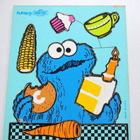 Vintage Playskool Cookie Monster Puzzle 1973