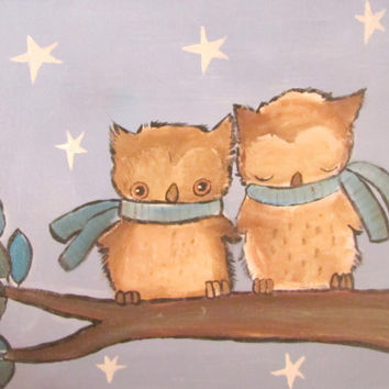 Woodland Nursery Owl Kids Wall Art, Original Painting