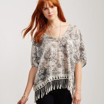 Sheer Floral Fringed Poncho