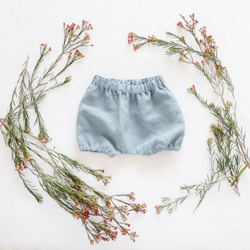 French Blue Linen Bloomers, Baby Boys Bloomers, Boys Linen Shorts, Bubble Shorts, Made of 100% Linen