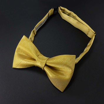 Gold bow tie for men or women – gold satin pre tied adjustable bowtie – glam wedding adult size bowties