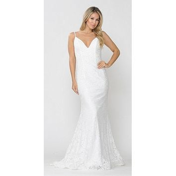 Beaded Lace Mermaid Style Long Prom Dress Off White