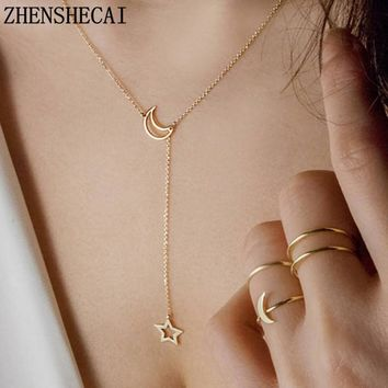 Moon Star Chain Necklace Fashion jewelry 2017 gold color long pendant simple necklace for women girl bijoux gift x13