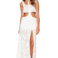 T-bar Cropped Top Lace Cutout Sleeveless A-Line Maxi Slit Skirt Set