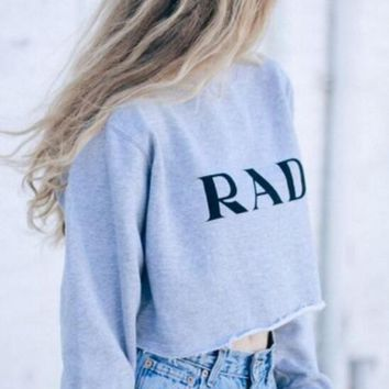 "Fashion ""RAD"" Letters print Long sleeves women top Sweatshirt"