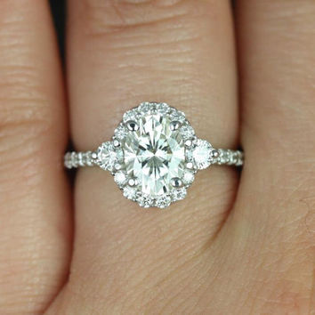 Bridgette 8x6mm 14kt White Gold Oval FB Moissanite and Diamonds Halo Engagement Ring (Other metals and stone options available)