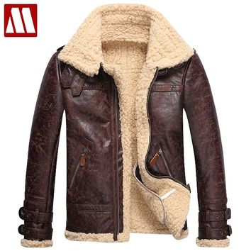 Brand Fashion Mens Vintage Leather Jackets Faux Lamb Fur Fleece Bomber Flight Jacket Male Winter Warm Fur Lining Zipper Coats