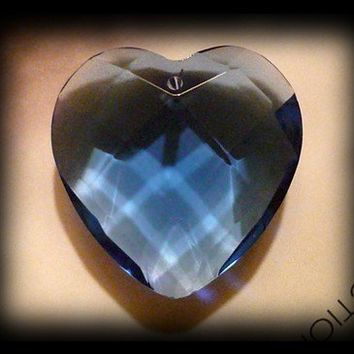 4 Large Divine Love Crystal Heart Pendant Blue Faceted 36mm big large jumbo hearts