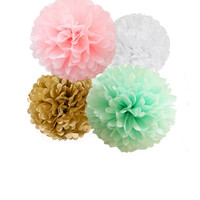Mint, Pink, Gold and White Tissue Paper Pom Poms 4 Piece Set  Weddings - Bridal Shower - Decorations - Birthday - Nursery