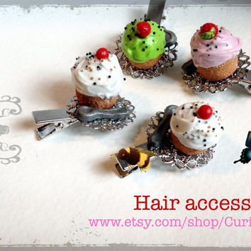 Girls Hair accessories mini cupcake and spoon