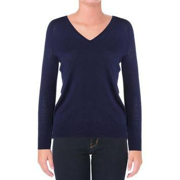 Lauren Ralph Lauren Womens Knit Ribbed Trim Casual Top