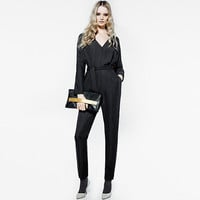 Fall Chiffon Slim High Waist V-neck Long Sleeve Jumpsuit [9022451140]