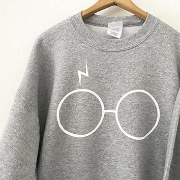 Harry Potter Sweatshirt Crewneck, Hogwarts Sweater, Unisex, Potter Sweatshirt, HP, Potter Scar, Glasses with lightning bolt scar