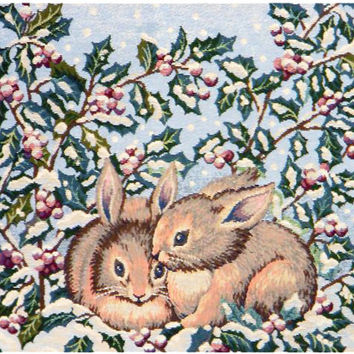 Holiday Bunnies Tapestry Wall Art Hanging