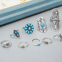 Vintage Boho Tribal Ethnic Turquoise Ring Hippie Gothic Punk Ring Set 9PCS-03213