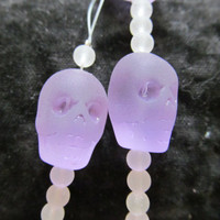 Skull head beads, sea glass beads, periwinkle lavender beads