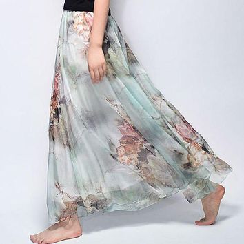 LMFIJ6 2017 Summer New Fashion Vintage Bohemia Chiffon Floral Printed Women Boho Floor-Length Long Maxi Beach Party Loose Flare Skirt