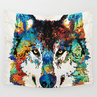 Wolf Art Print - Hungry - By Sharon Cummings Wall Tapestry by Sharon Cummings