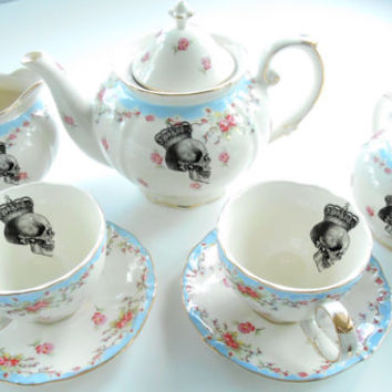 Gorgeous Blue Floral Skull Tea Set, 2 Tea Cups w. Saucers, Tea Pot, Sugar, Creamer, PAYMENT PLANS AVAILABLE