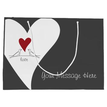 Red Heart White Doves In Love Modern Personalized Large Gift Bag