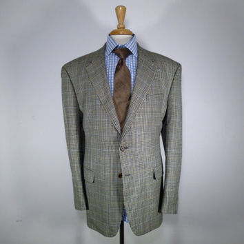 Vintage mens blazer sport coat jacket 80's by Chaps Ralph Lauren Beige/Cream Black Houndstooth Silk  50 52