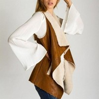 Spiced Cider Suede and Shearling Vest !