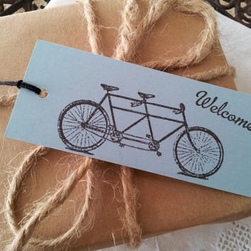 Tandem Bike Welcome Tags Set of 10