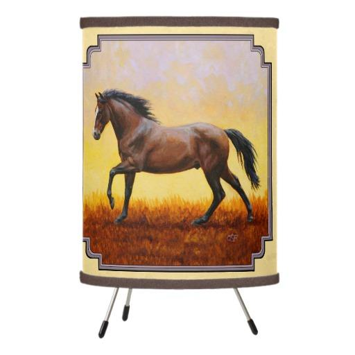 dark bay running horse yellow tripod lamp from zazzle horses. Black Bedroom Furniture Sets. Home Design Ideas