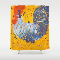 """""""mista roosta""""  Rooster Rooster Shower Curtain by Jennifer Pennacchio"""
