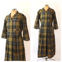 Vintage 1950s Lord & Taylor Day Dress Green Plaid Wool Fall Shirt Dress Size Small Preppy 60s Winter Christmas Dress Classic 50s Dress