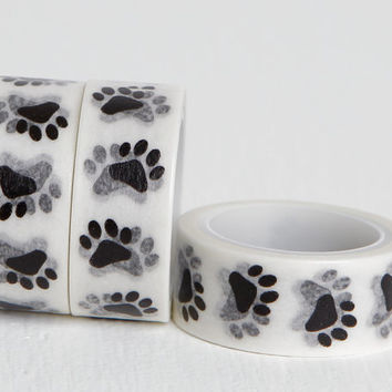 Paw Print Washi Tape, Black and White Dog Pawprints Washi, 15mm x 5m