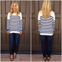 Dock Of The Bay Striped Sweater - NAVY & WHITE