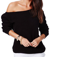 Off-shoulder Long Sleeve Knit Top