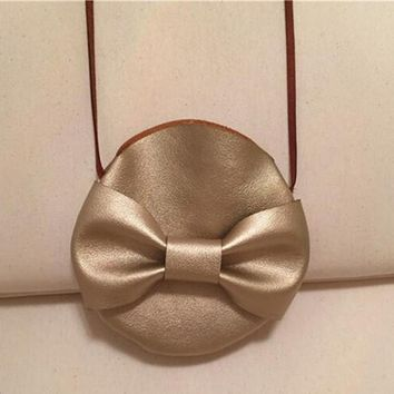 Children Gold Bow Small Bag Circle Kids Coin Purse Cute Open Baby Girls Messenger Bag Babies Decroation Accessory Gifts for Kids